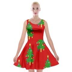 Christmas Trees Velvet Skater Dress