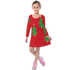 Christmas Trees Kids  Long Sleeve Velvet Dress