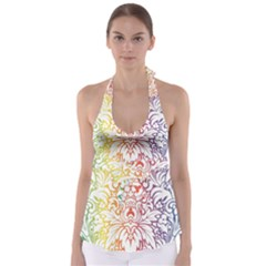 Cool Flower Rainbow Blue Purple Red Orange Yellow Green Babydoll Tankini Top