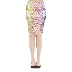 Cool Flower Rainbow Blue Purple Red Orange Yellow Green Midi Wrap Pencil Skirt