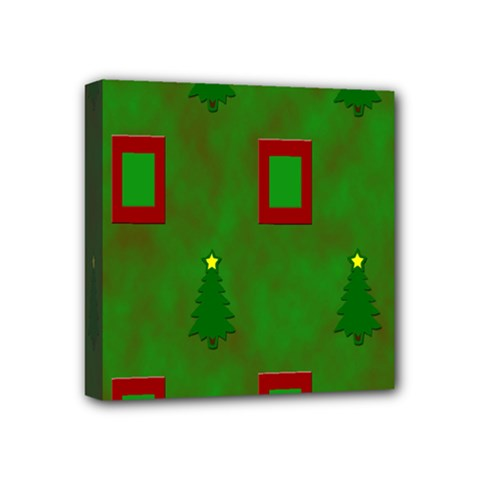 Christmas Trees And Boxes Background Mini Canvas 4  x 4