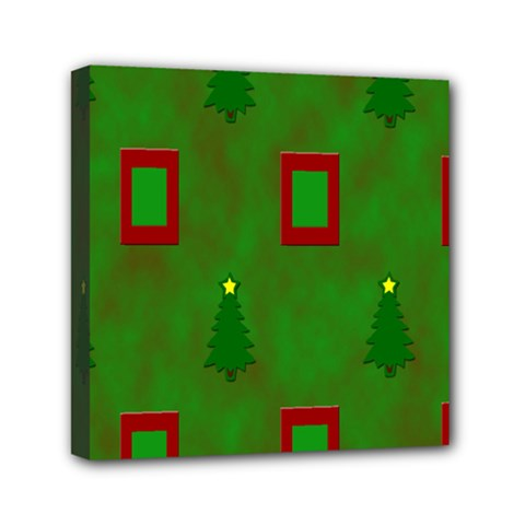 Christmas Trees And Boxes Background Mini Canvas 6  x 6