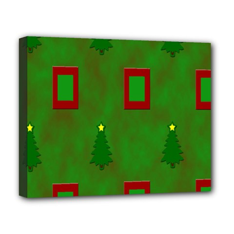 Christmas Trees And Boxes Background Deluxe Canvas 20  x 16