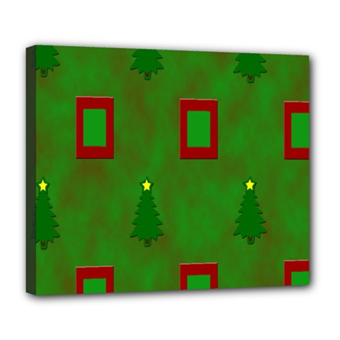 Christmas Trees And Boxes Background Deluxe Canvas 24  x 20