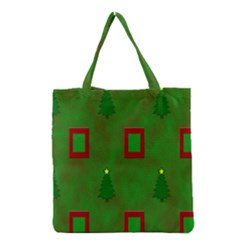 Christmas Trees And Boxes Background Grocery Tote Bag