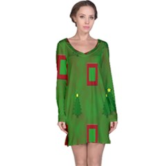 Christmas Trees And Boxes Background Long Sleeve Nightdress