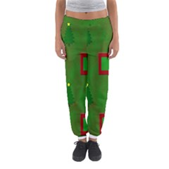 Christmas Trees And Boxes Background Women s Jogger Sweatpants