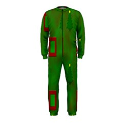 Christmas Trees And Boxes Background OnePiece Jumpsuit (Kids)