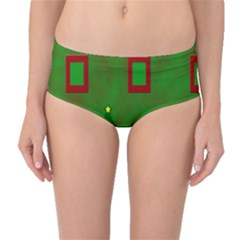 Christmas Trees And Boxes Background Mid-Waist Bikini Bottoms