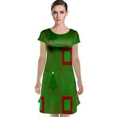 Christmas Trees And Boxes Background Cap Sleeve Nightdress