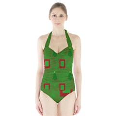 Christmas Trees And Boxes Background Halter Swimsuit