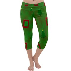 Christmas Trees And Boxes Background Capri Yoga Leggings