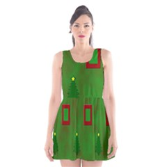 Christmas Trees And Boxes Background Scoop Neck Skater Dress