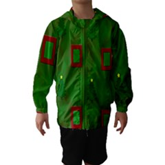Christmas Trees And Boxes Background Hooded Wind Breaker (Kids)