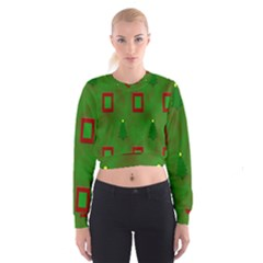 Christmas Trees And Boxes Background Women s Cropped Sweatshirt
