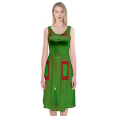 Christmas Trees And Boxes Background Midi Sleeveless Dress