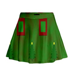 Christmas Trees And Boxes Background Mini Flare Skirt