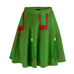Christmas Trees And Boxes Background High Waist Skirt
