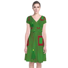 Christmas Trees And Boxes Background Short Sleeve Front Wrap Dress