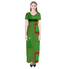 Christmas Trees And Boxes Background Short Sleeve Maxi Dress