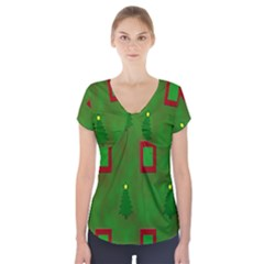 Christmas Trees And Boxes Background Short Sleeve Front Detail Top