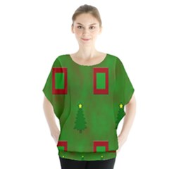 Christmas Trees And Boxes Background Blouse