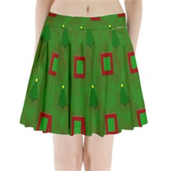 Christmas Trees And Boxes Background Pleated Mini Skirt