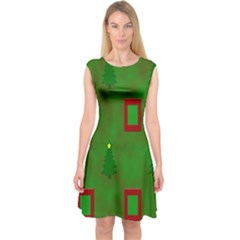Christmas Trees And Boxes Background Capsleeve Midi Dress