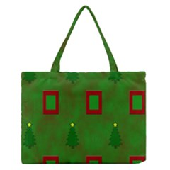 Christmas Trees And Boxes Background Medium Zipper Tote Bag