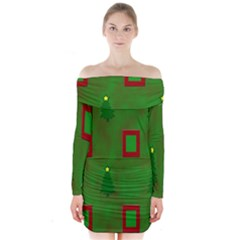 Christmas Trees And Boxes Background Long Sleeve Off Shoulder Dress