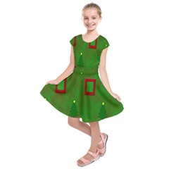 Christmas Trees And Boxes Background Kids  Short Sleeve Dress