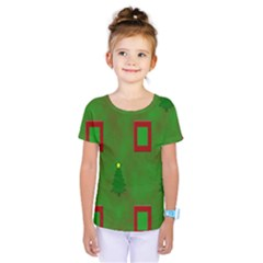 Christmas Trees And Boxes Background Kids  One Piece Tee