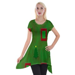 Christmas Trees And Boxes Background Short Sleeve Side Drop Tunic