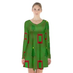 Christmas Trees And Boxes Background Long Sleeve Velvet V Neck Dress