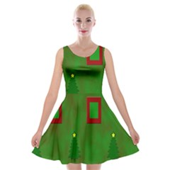 Christmas Trees And Boxes Background Velvet Skater Dress
