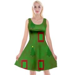 Christmas Trees And Boxes Background Reversible Velvet Sleeveless Dress