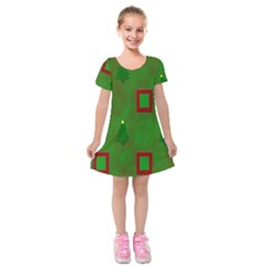 Christmas Trees And Boxes Background Kids  Short Sleeve Velvet Dress