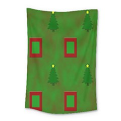 Christmas Trees And Boxes Background Small Tapestry