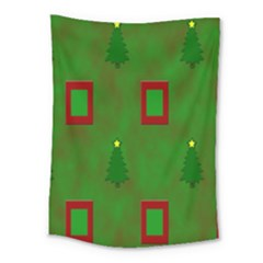 Christmas Trees And Boxes Background Medium Tapestry