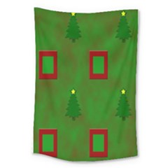 Christmas Trees And Boxes Background Large Tapestry