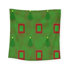 Christmas Trees And Boxes Background Square Tapestry (small)
