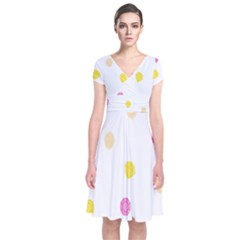 Diamond Pink Yellow Short Sleeve Front Wrap Dress