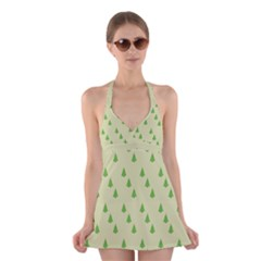 Christmas Wrapping Paper Pattern Halter Swimsuit Dress