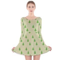 Christmas Wrapping Paper Pattern Long Sleeve Velvet Skater Dress