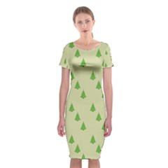 Christmas Wrapping Paper Pattern Classic Short Sleeve Midi Dress