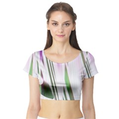Colored Pattern Short Sleeve Crop Top (Tight Fit)