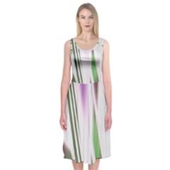 Colored Pattern Midi Sleeveless Dress