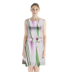 Colored Pattern Sleeveless Chiffon Waist Tie Dress