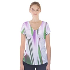 Colored Pattern Short Sleeve Front Detail Top