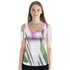 Colored Pattern Butterfly Sleeve Cutout Tee